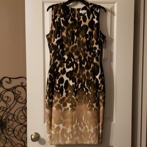 Ombre Stretch Leopard Sheeth Dress
